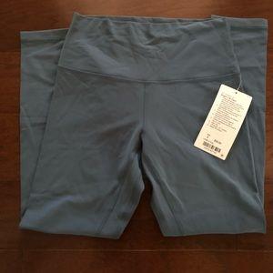 Lululemon Aligns 7/8 length pant. Slate blue.